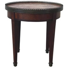 19th Century French Marquetry Guideron Table with Marble Top and Brass Accents