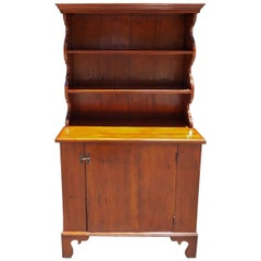 American White Pine Step Back Scalloped Cupboard, Circa 1850
