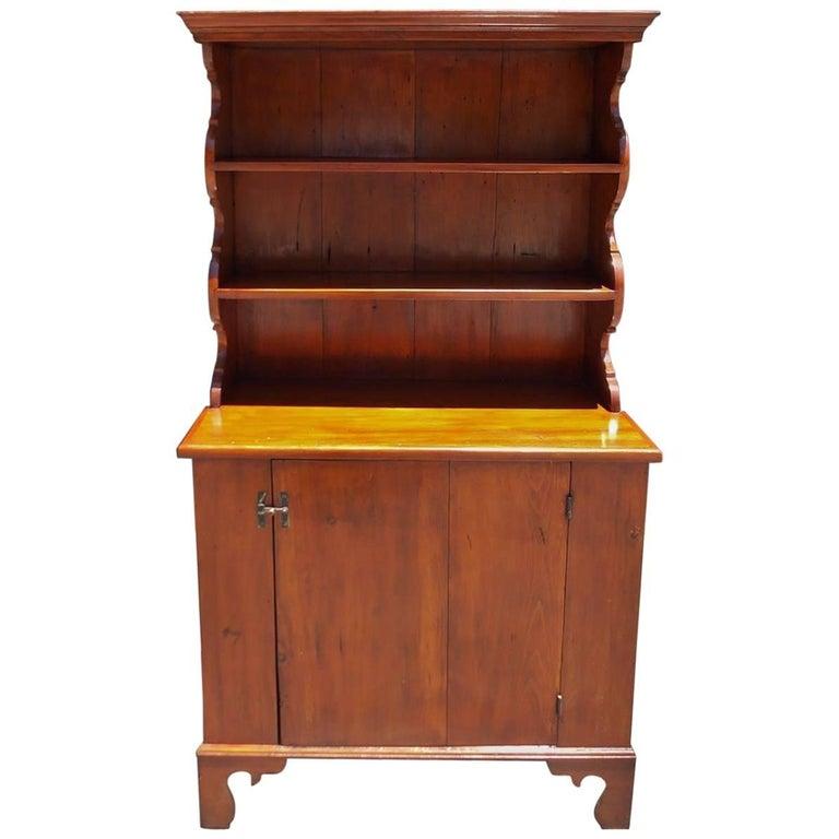 American White Pine Step Back Scalloped Cupboard, Circa 1850