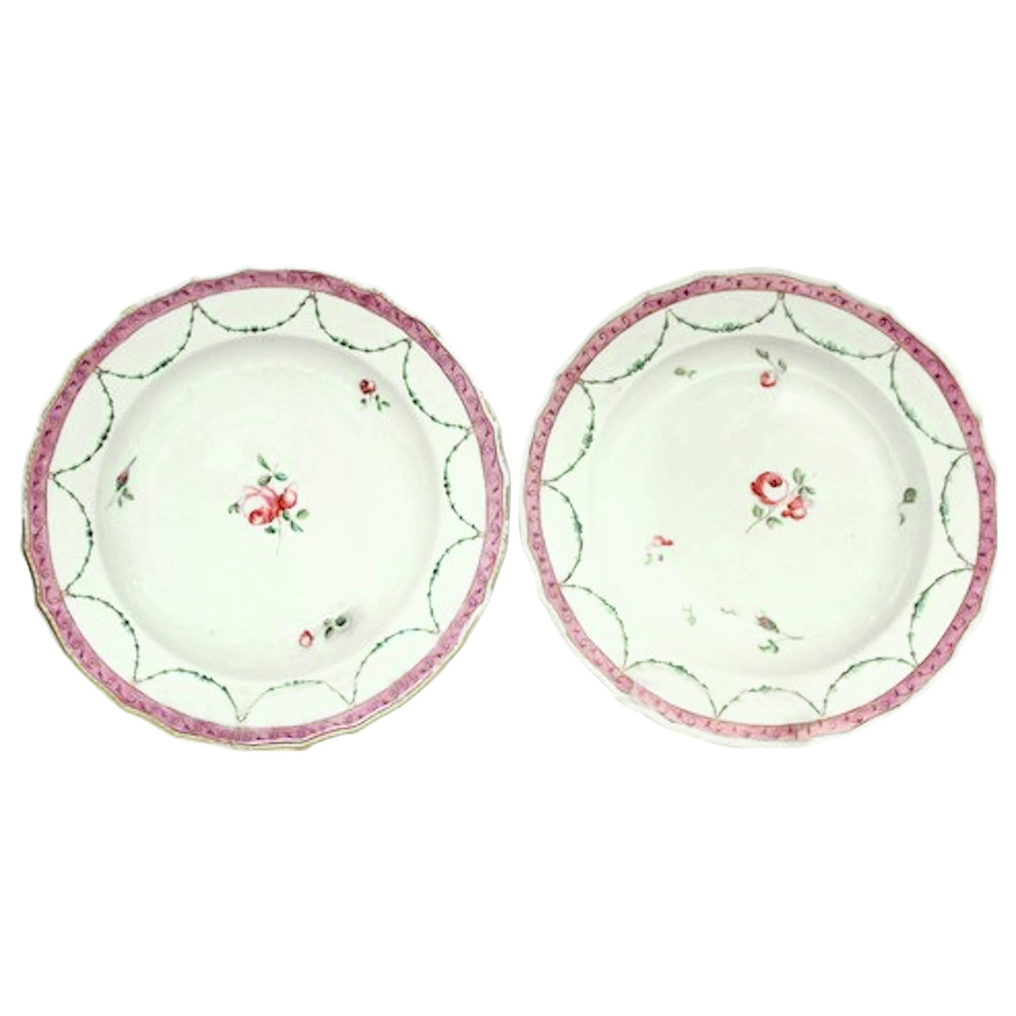 Pair of Antique English Chelsea-Derby Porcelain Neoclassical Rim Soup Plates