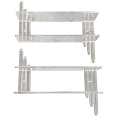 1960s Lucite Wall Shelves, Pair