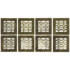 1970s Asian Brass Coasters, Set of Eight
