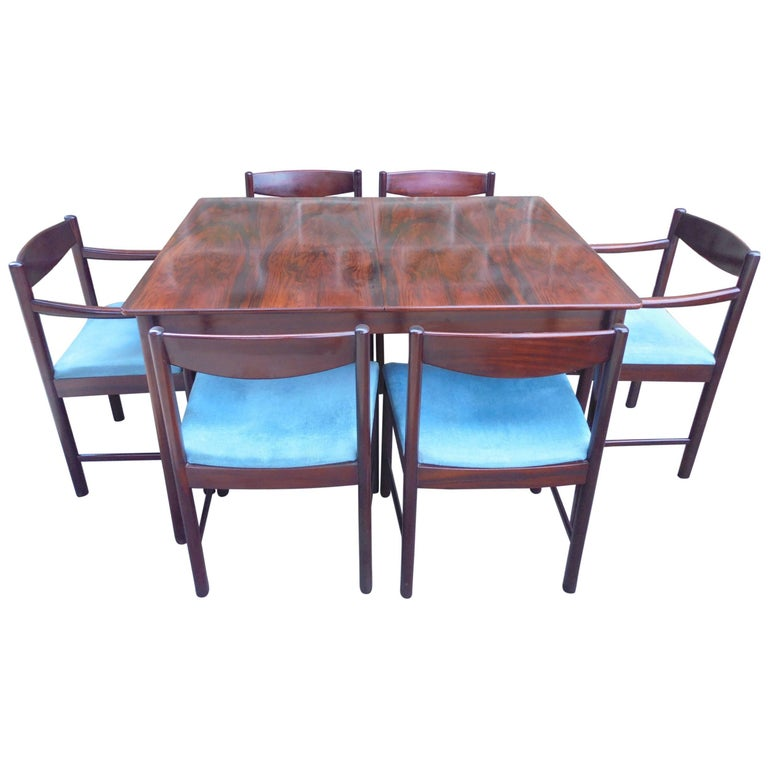 Retro 1960s Roswewood Extending Dining Table And Six