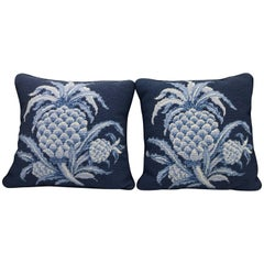 1980s Blue and White Pineapple Motif Needlepoint Pillows, Pair