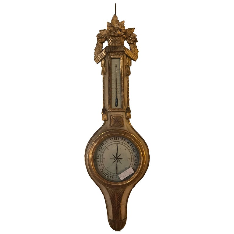Italian Parcel Paint and Gilt Decorated Gilt Gold Antique Barometer For Sale