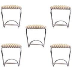 Set of Five Cantilever Design Institute of America Chrome Stools