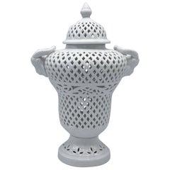 1960s Blanc De Chine Pierced Lidded Urn with Ram Head Handles