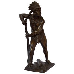 French, 19th Century Bronze Sculpture of American Indian Chief