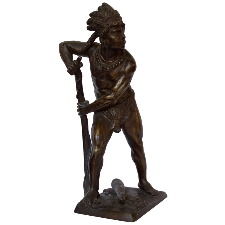 French, 19th Century Bronze Sculpture of American Indian Chief 1