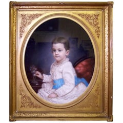 French Portrait of a Young Boy, Original 19th Century Pastel in Original Frame