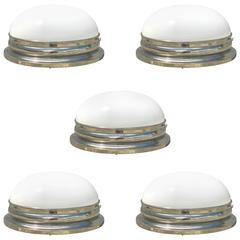 Five Modern Nickel and White Glass Flush Mounts or Sconces