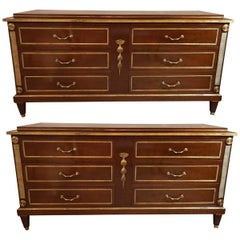 Palatial Pair of Russian Neoclassical Style Step Up Chests or Commodes