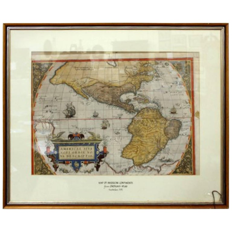 Map of the Americas by Abraham Ortelius, 16th Century Framed Original Engraving