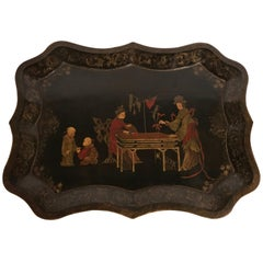 Hollywood Regency Removable Tray Top Chinoiserie Cocktail or Coffee Table
