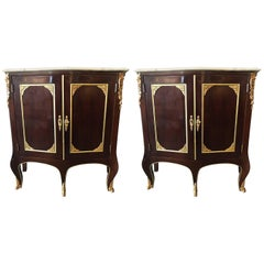 Pair of Jansen Style Double Door Marble-Top Bedside Cabinets or End Tables