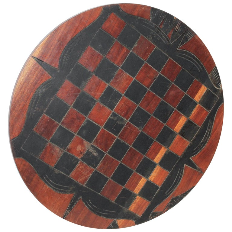 20th Century Folky Original Painted Round Game Board