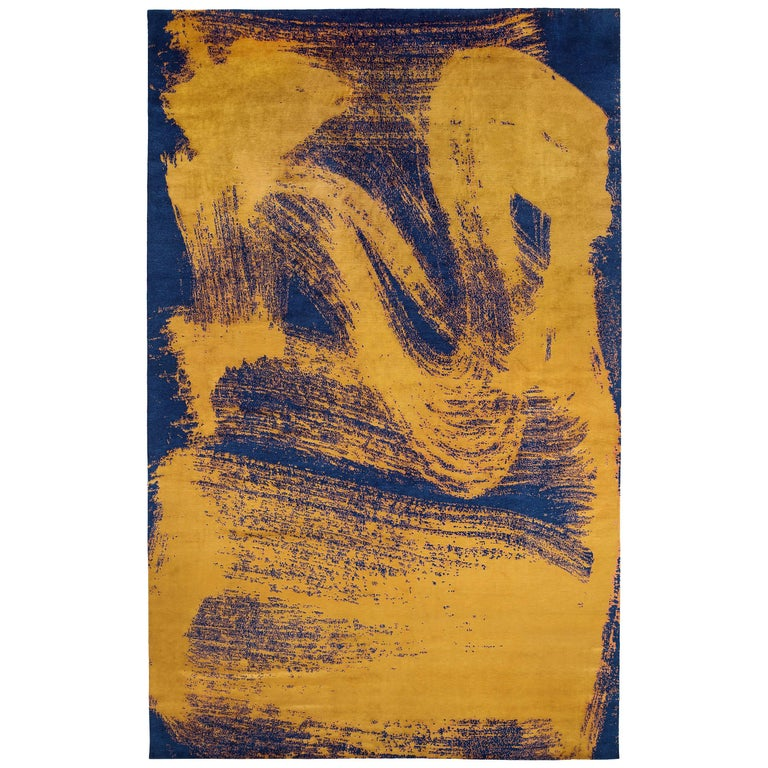 Indigo And Gold Brushstroke Silk Area Rug For Sale At 1stdibs