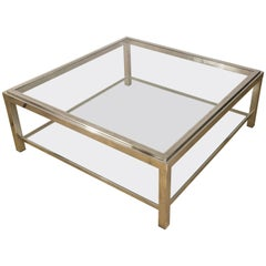 Large Nickel-Plated and Glass Mid-Century Modern Coffee Table