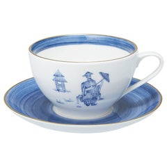 Modern Chinoiserie Hand-Painted Porcelain Tea Cup and Saucer in Blue