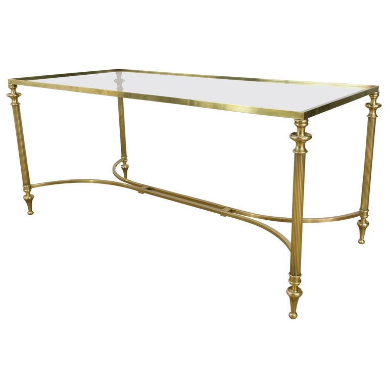 Brass Display Coffee Table: Neoclassical Brass Coffee Table With Clear Glass Top For