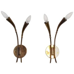 Pair of Italian Wall Sconces Patinated Brass