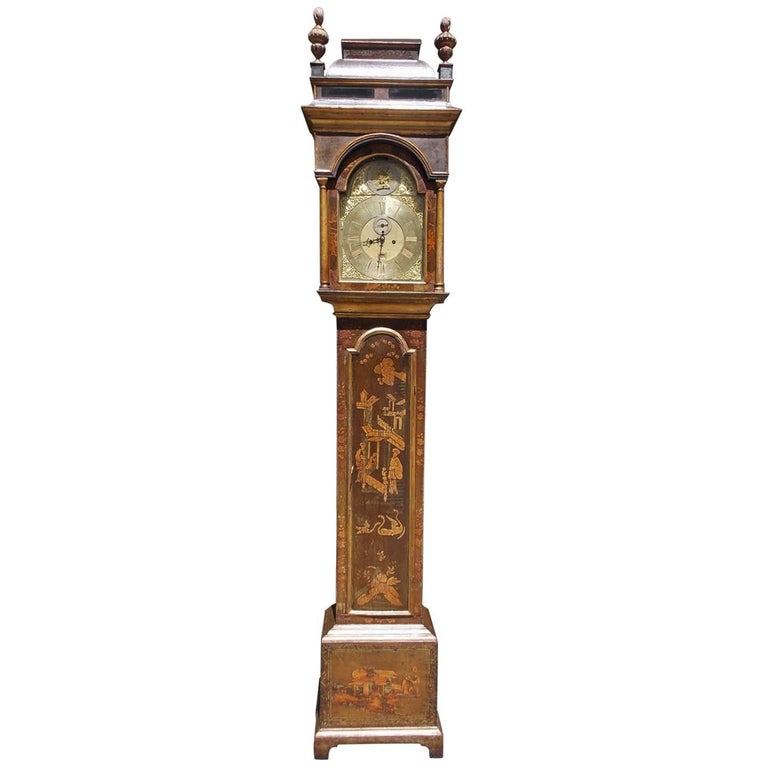 English chinoiserie tall case clock by Joshua Allsop, ca. 1700, Golden & Associates Antiques