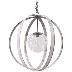 Industrial Chandelier with Vintage Glass Globe
