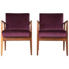 Mid-Century Modern Set of Jens Risom Lounge Chairs Reupholstered in Velvet