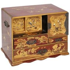 Beautiful Japanese Keyaky Elm Kodansu Jewelry Gilt Box