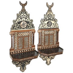 Superb Pair of 19th Century Moroccan Wall Mount Shelves Inlay