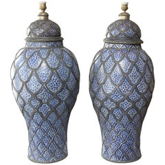 Superb 1930s Morrrocan Pair of Fez Ginger Jar Lamps