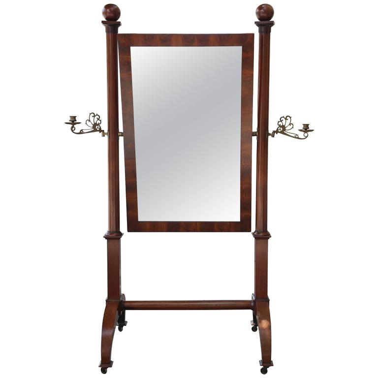 Superb Louis Philippe 19th Century Mahogany Cheval Mirror Brass Candleholders For Sale