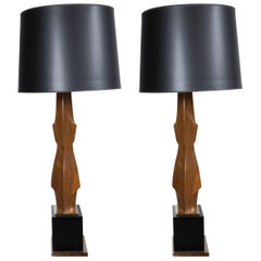 Pair of Dramatic Carved Wood Lamps