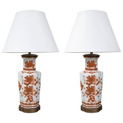 Pair of Hand-Painted Porcelain Lamps
