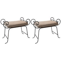 Pair of Mid-Century Iron Benches