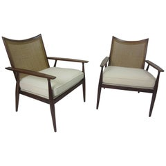Paul McCobb for Directional Walnut and Cane Armchairs