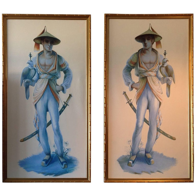 Pair of Majestic Life Size  Chinoiserie Paintings of Falconers For Sale