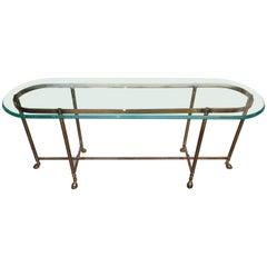 Jansen Style Brass Sofa Table