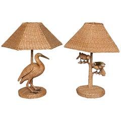 "Rare Mario Lopez Torres ""Egret"" and Parrot Toucan Lamps"
