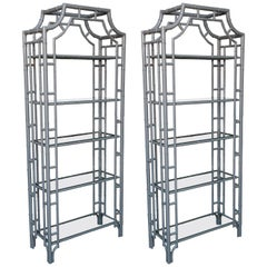 Pair of Faux Bamboo Etageres