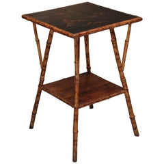 Signed Japanned Bamboo End Table