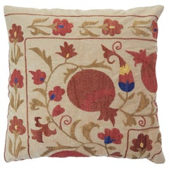 Vintage Suzani Embroidered Pillow with Flowers and Fruit