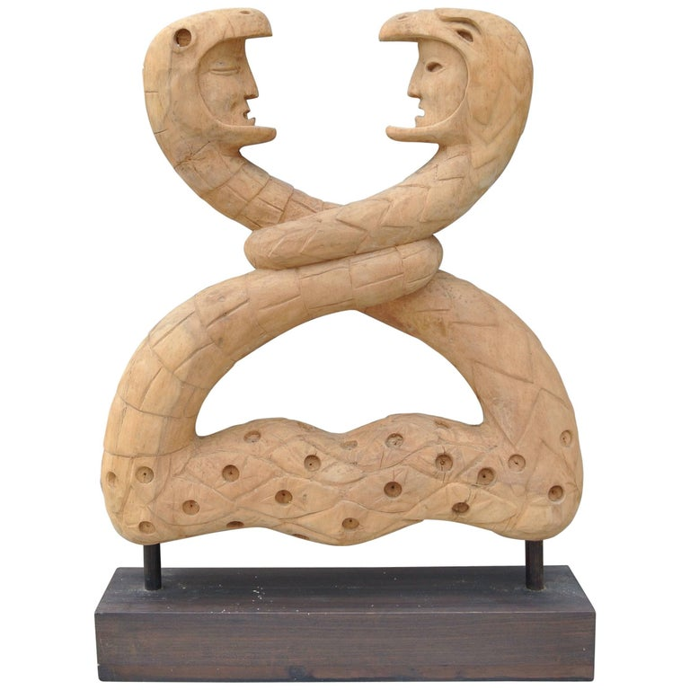 Carved Wood Snake Sculpture