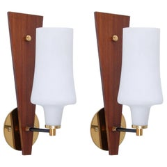 Midcentury Italian Teak, Brass and Glass Sconces