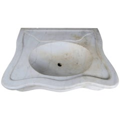 Serpentine Shaped Carrara Marble Sink, circa 1900