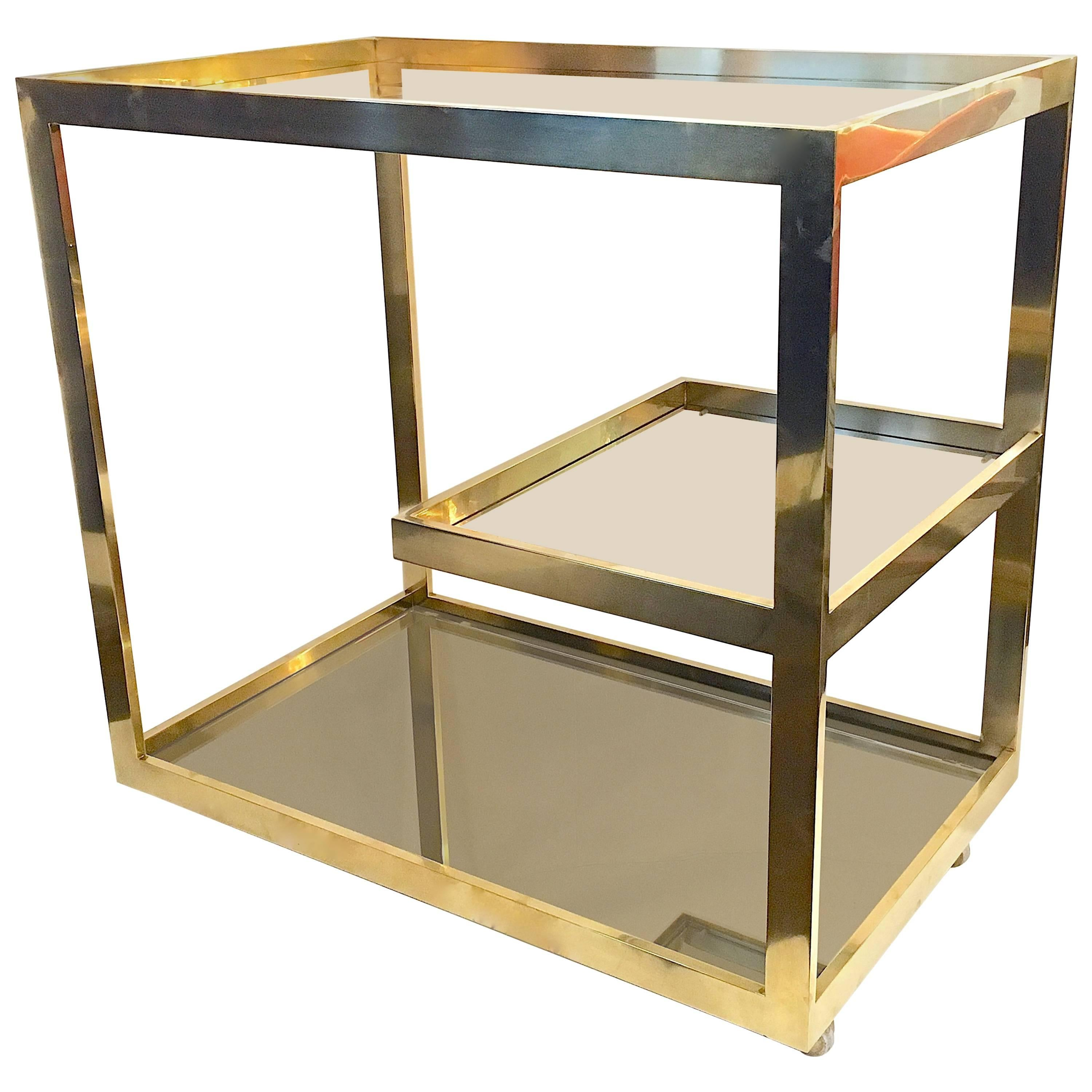 Superieur Brass Bar Or Serving Cart By Cy Mann