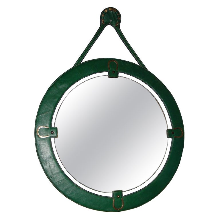1950s Green Mirror by Jacques Adnet