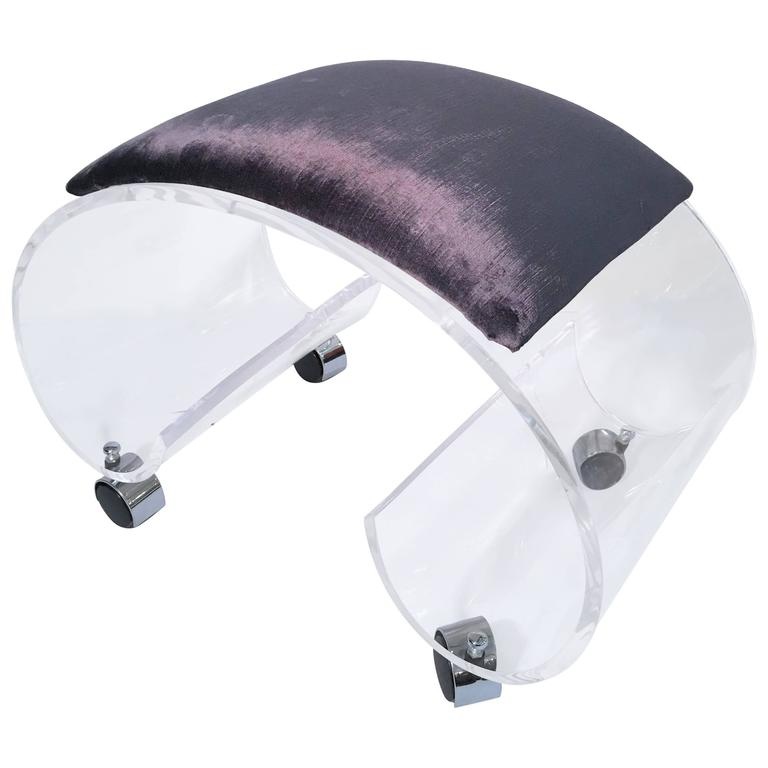 Scrolled Lucite Bench or Vanity Stool For Sale