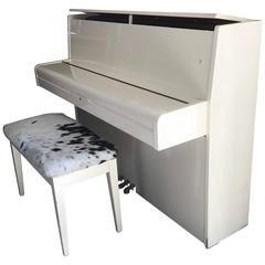 Mid-Century Modern White Piano with Bench