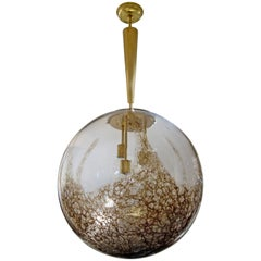 Italian Mid-Century Oversized Murano Brown Mottled Globe or Chandelier